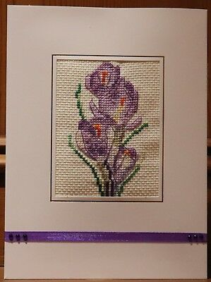 "Handmade Completed Cross Stitch Card 8""x6"" Flowers Crocus Lilac Purple Birthday"