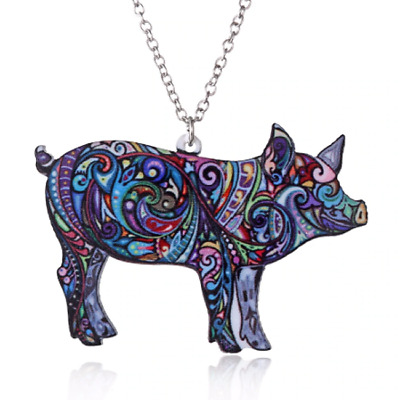 Acrylic Pig Swine Animal Abstract Colourful Necklace Pendant Jewellery Gift Bag