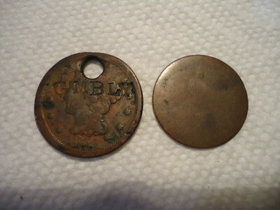 1854 Large Cent - damaged - plus one very worn cent
