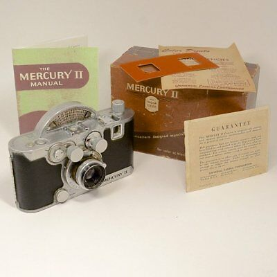 Mercury II Half Frame 35mm Film Camera 2.7 Tricor Lens c1945 W/Box, Instructions