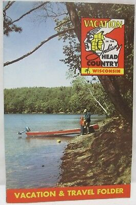 Vintage 1956 Vacation Indian Head Country Wisconsin Travel Folder Brochure Map