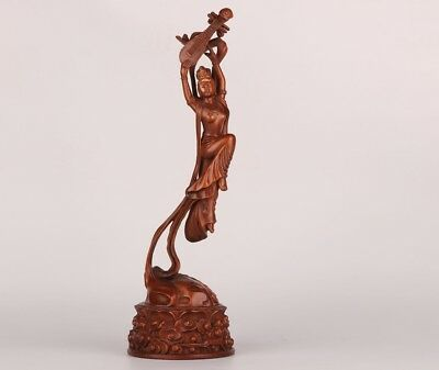 Precious China Boxwood Statue Belle Handmade Carving Home Decoration Gift