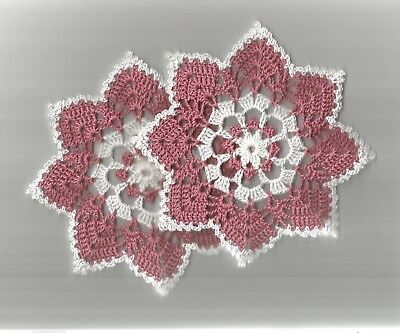 """2 Round Crochet Lace Doilies Doily 6"""" Dusty Rose & White"""