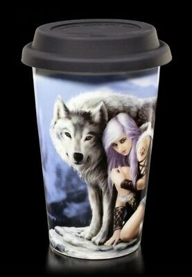 Anne Stokes Protector Ceramic Travel Mug With Insulating Lid Fairy Goth