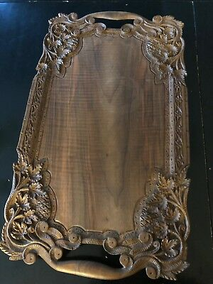 """Antique Wood Hand Carved Handled Floral Serving Tray 23"""" x 14"""""""