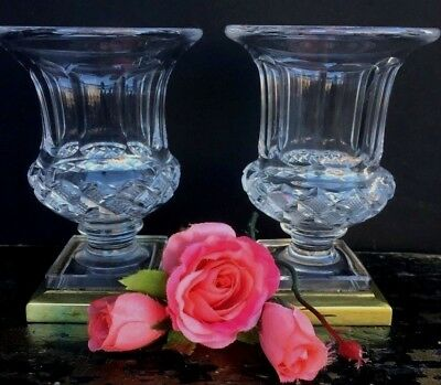Pair Of Antique French Cut Crystal Small Vases Urns