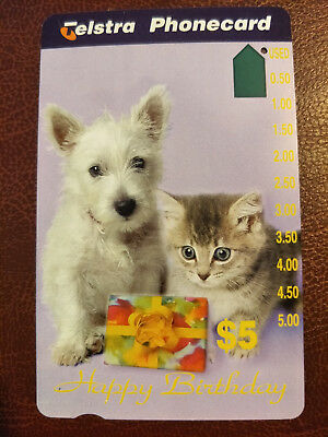 Used $5 1 Hole Happy Birthday- Cat & Dog Phonecard Prefix 1119