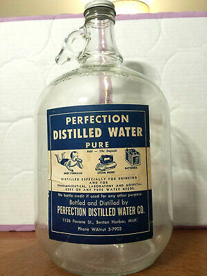 Vintage Ball One Gallon Perfection Distilled Water Glass Jug Bottle Jar With Lid