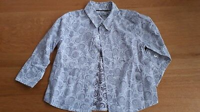 Autograph M & S Boys Shirt Age 12-18 Months Grey And White Paisley Print