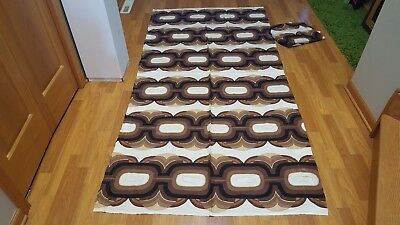 Awesome RARE Vintage Mid Century retro 70s brown link pair of curtains fabric!!