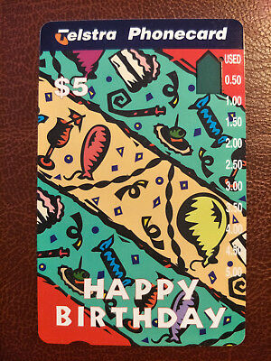 Used $5 1 Hole Happy Birthday  Phonecard Prefix 1120