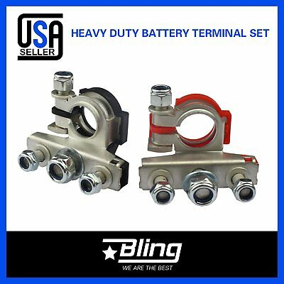 Pair Heavy Duty Car 3 Way Battery Terminal Cable Clamp Clip Positive/&Negative
