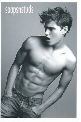 Shirtless Twink N Blue Jeans Ripped Shredded 6 Pk Abs Gay Interest 4x6 B&W Photo