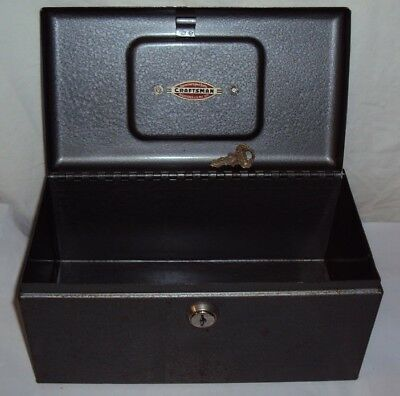 Vintage CRAFTSMAN Tools Locking Strong Cash Storage Box With Key