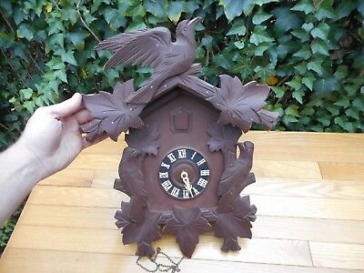 Vintage Cuckoo Clock Germany Carved Birds Leaves Vintage Regala Schmeckenbecher