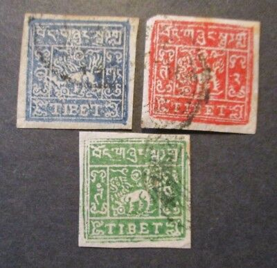 Tibet Postage Set of 3 Stamps, Scott# 15, 16a & 18, all used