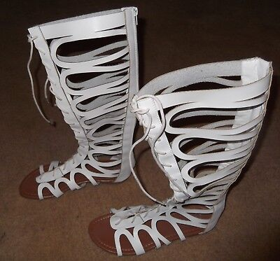White ARWEN Gladiator Sandals-Sz 8