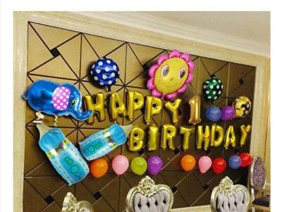 D25 Blue/Gold Foil Balloons Alphabet /Number Birthday Weding Party Balloon