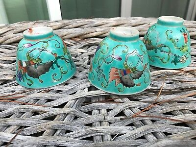 Antique Chinese Qing Guangxu Green Porcelain Cups 3pc Mark