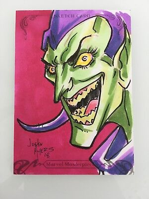 2018 Upper Deck Marvel Masterpieces GREEN GOBLIN Sketch Card by Justin Ayers 1/1