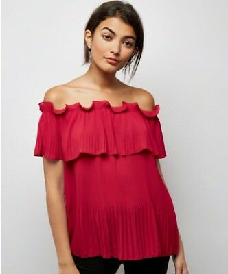 786cca61bf326 NEW LOOK - Cameo Rose Red Bardot Top - Size S M - BNWT -  12.88 ...