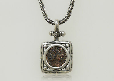 Sterling Silver Necklace with a Genuine Ancient Roman Bronze Coin - 000