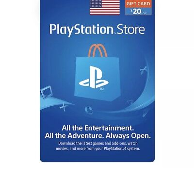 Sony Playstation Network $20 USD Digital Card- PS4 PS3 PSP USA Only