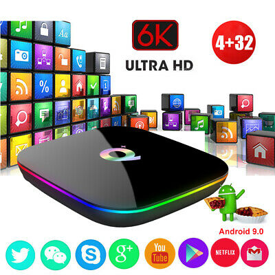 2019 Q plus 6K 4+32G Android 8.1 Smart TV Box Quad Core WIFI USB 3D Films Movies