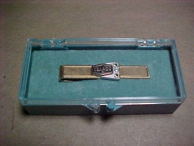 Old Texaco Gas EmployeeTie Clip Pin 12Kt Gold Filled Real Diamond And Peridot