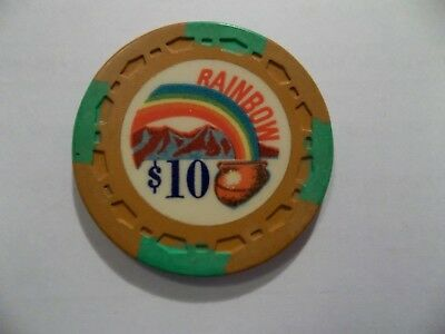 ✔ One $10 Rainbow Club Poker Casino Chip Gardena Ca Obsolete
