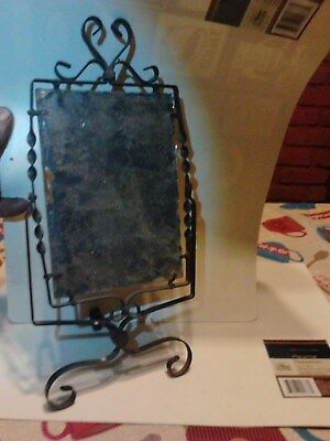 Antique Wrought Iron Frame Travel Shaving Mirror, Scalloped Edges, Very Old!