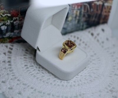 Art Deco Vintage Jewellery Gold Ring Champagne Sapphires Antique Jewelry Size T