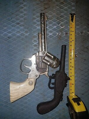 Lot of two Vintage toy guns Cowboy Capgun metal and cast  iron old boot jack