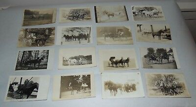 LARGE LOT! ANTIQUE Photo Postcards HORSE DRAWN WAGONS Carriages RPPC