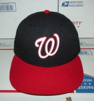 New Era Washington National Dark Navy Red Fitted Baseball Hat 59Fifty Cap  Size 7 a11abb778069