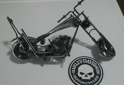 Metal Motorcycle/Chopper Art Sculpture With Rubber Drink Coaster