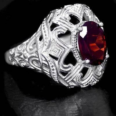 3ct NATURAL OVAL CRIMSON RED GARNET STERLING SILVER ANTIQUE RETRO RING SIZE 6.5