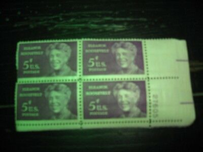 U.S. Postage Stamps Eleanor Roosevelt Block of 4 Numbered 5 cent .New