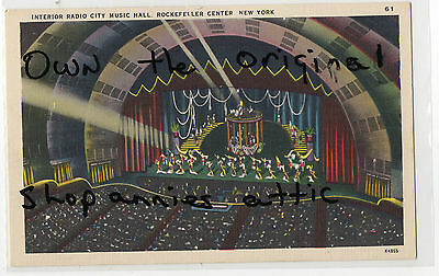 NEW YORK postcard NYC interior view RADIO CITY MUSIC HALL Rockettes Rockerfeller