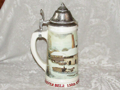 Schaefer Ceramic Beer Stein with Lid 150th Anniversary Holiday Numbered EXC