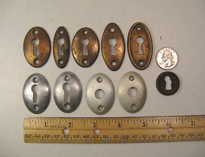 Lot of 10 Antique / Vintage Metal Skeleton Key Hole Covers, Salvage