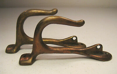 Lot of 2 Antique / Vintage Solid Brass Wall Hooks Hangers