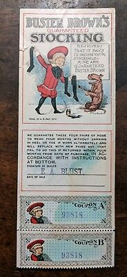 RF Outcault Artist Signed Buster Brown Comic Stocking Hose Advertising Coupon
