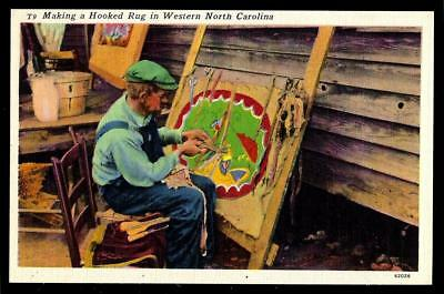 1¢ Wonder's ~ Unused Postcard W/ A Hooked Rug Maker By Mountain Man ~ R781