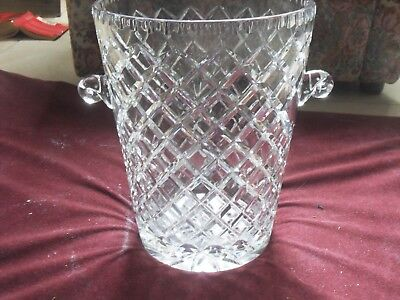 Stunning Large  Heavy Lead Crystal Ice Bucket with Handles