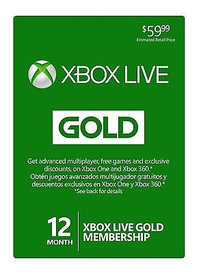 Microsoft Xbox Live Subscription 12 Month Gold Membership Code 24/7 E-delivery