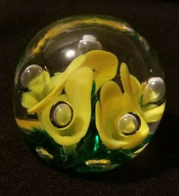 Joe St. Clair Art Glass Controlled Bubble Paperweight -- MINT & Signed
