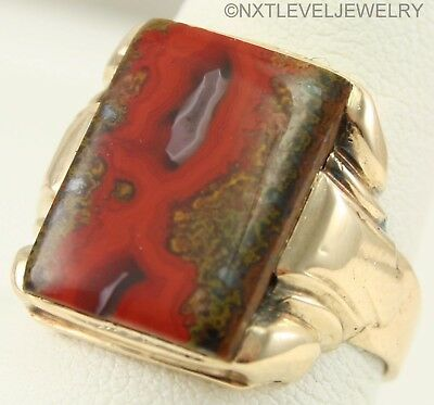 UNIQUE Antique 1920's Art Deco Natural Banded RED Agate 10k Solid Gold Mens Ring