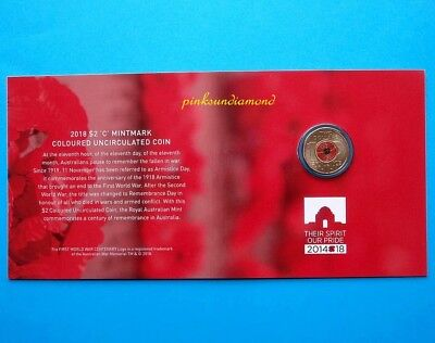 2018 $2 'C' Mintmark Uncirculated Coin Remembrance Day - Armistice Centenary.