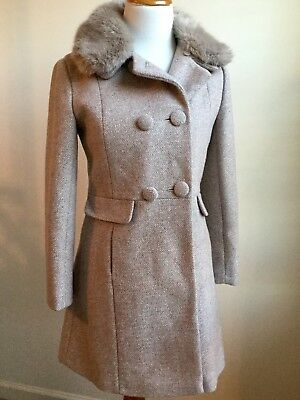 MONSOON Girls Pink Gray Wool Faux Fur Collar Dress Coat Size 12-13 Years NWOT